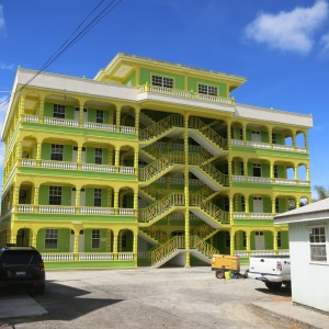 One of the many colorful apartment buildings in Picard for Ross University students