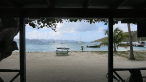 The beach is main street on this little island, Jost Van Dyke