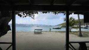 The beach is main street on this little island, Jost Van Dyke