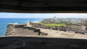A view out of a sentinel post from one fort across the island with the other fort in the distance
