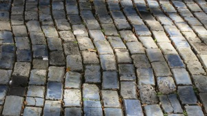Cobblestones made from the materials in ships' ballast many years ago