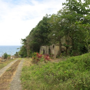 The ruins of the first Catholic Church in Dominica. We appreciated this graveyard having an excellent view and cooling breeze. The church was abandoned after an earthquake made it unsafe.