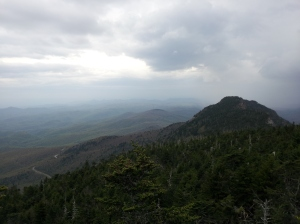 View from Calloway Peak in the Blue Ridge Mountains, the storm on the right caught up to us and rained on our hike back down