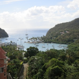 Marigot Bay. Visible in the foreground is the inner harbor, where the British fleet successfully hid from the French in the 1700s.