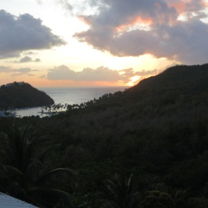 Sunset view from our rooftop over Marigot Bay