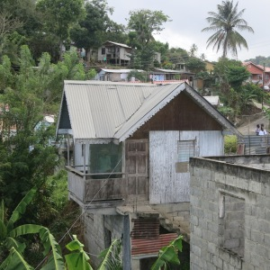 Our neighborhood in Marigot. The two near houses both appear to be unoccupied at present.