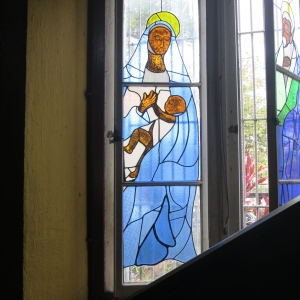 One of the depictions of Mary and baby Jesus in the Castries Cathedral