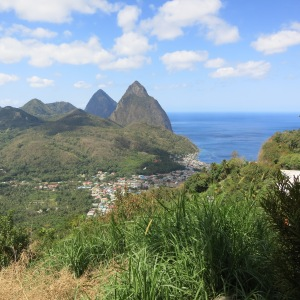 The Pitons beyond St Lucia's second largest town, Soufriere.
