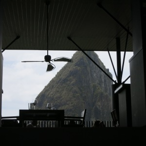 View from Boucan where we ate a chocolate lunch and ogled the Pitons