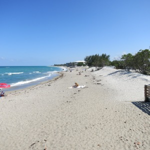 This is a typical east Florida beach with white sand stretching on farther than the eye can see.