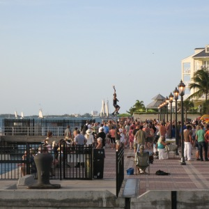 Sunset celebration at Mallory Square in Key West. Note the fire juggler on tall unicycle.