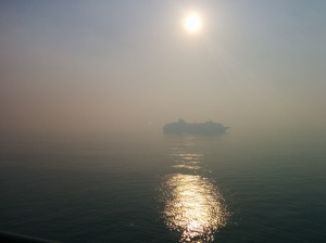 On the last morning of our cruise, our boat was delayed due to a brush fire in the Everglades the day before. The Port of Miami was closed and we could barely make out the other boats queued up waiting for the port to reopen due to the thick smoke.