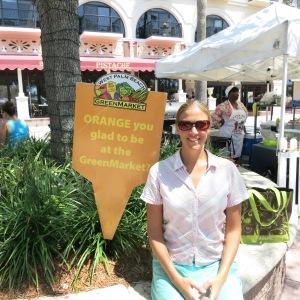 Megan enjoying the Saturday-morning. green market in West Palm Beach