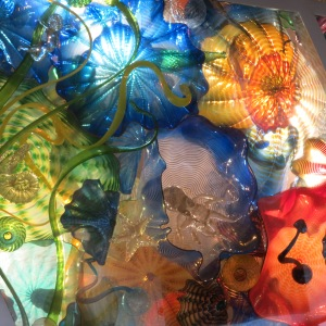 A marine-themed Chihuly exhibit at the Norton Art Museum. Can you find the starfish and octopus?