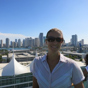 Megan on the cruise boat with Miami receding into the background.