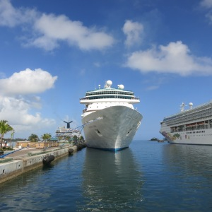 Our boat docked in Nassau. Note the cruise ships on either side.