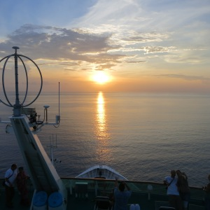 Cruise boat sunset