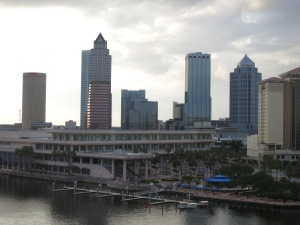 Downtown Tampa as seen from our hotel room. The Convention Center, in the foreground, was modeled after a sternwheeler.