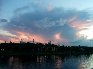 Sunset with a thunder cell in Tampa