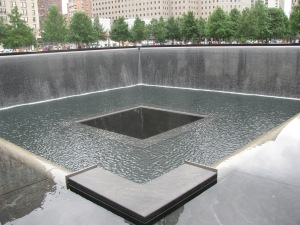 9/11 Memorial. This giant fountain is the footprint of one of the twin towers. It was a moving tasteful memorial.
