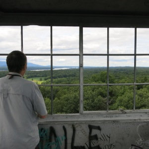 View of the Hudson River Valley from the lookout tower in Ferncliff Forest