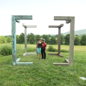 Storm King Art Center. Four Corners by Forrest Myers with Megan and Adam in the cube