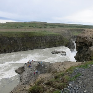 Gullfoss Falls. We were told in spring floods, water can cover where the tourists are standing and fill the lower canyon.