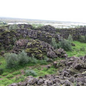 Thingvellir National Park. This is thought to be the site of the Parliament meeting that began in 930. They seemed to use the space between the cliffs to gather with one speaker at a time elevated on a rock outcrop.