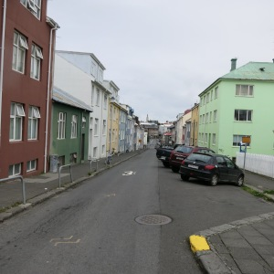Street view of Reylkavik. Buildings are colorful and usually 2-3 stories tall in the town center.