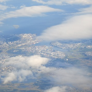 View from the airplane of Reylkavik through the clouds