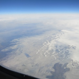 View from the airplane of Vatnajökull, Iceland's largest glacier.