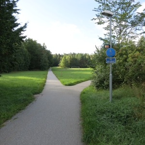 Bicycle and pedestrian paths are very common, so you rarely are walking alongside a road. Lidingö, the island we are staying on, is half green space crossed with trails like this.