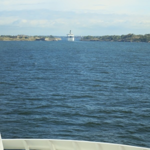 A narrow passage on the way into Helsinki, Finland. The cruise ship before us looks like they will barely fit.