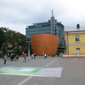 Helsinki. The Kamppi Chapel of Silence provides a quiet place in the middle of a bustling city.