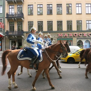The royal band making their way to the palace in Stockholm
