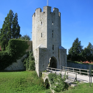 One of the tower entrances to Visby, Gotland. While there is not a traditional moat around the town, there is a low wet area. The wooden planks that make up this bridge would be removed when the town was expecting intruders.