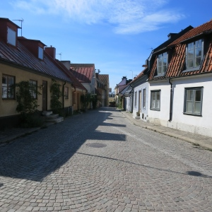 A residential street in Visby,  Gotland. These houses are centuries old.