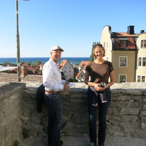 Visby, Gotland. Megan and Sven enjoying the view from one of Sven's favorite places