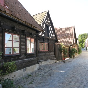 Visby, Gotland. These wooden houses are said to be 800 years old, blackened by preservative tar.