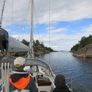 One of the many narrow passages between islands in the Baltic