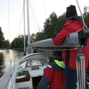 Passing through the narrow Baggenstäket channel near Stockholm, it is less than 20 meters wide here!