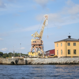 A crane painted like a giraffe, Stockholm.