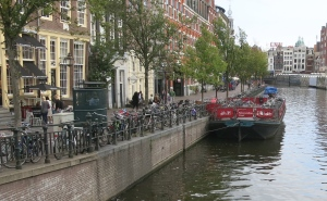 Floating bicycle parking in Amsterdam. It was rare to see unused bike parking in the city.