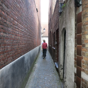 Peter and Megan walking down one of the old narrow lanes.