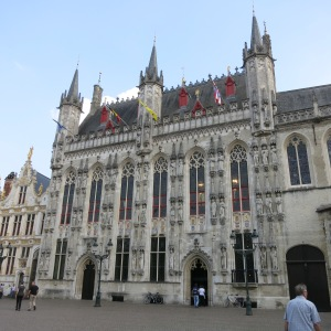 City Hall is an impressive building off a square in Bruges.