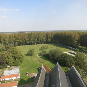 View of one corner of the star-shaped moat around Damme, Belgium.