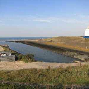 A Dutch dike at the edge of the North Sea.