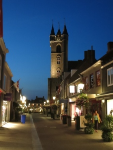 Evening in Sluis, Netherlands. Similarly in Bruges, the old buildings are well lit at night.