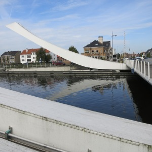 We biked by this in Bruges. The bridge lifts when the counterbalanced arms rock.