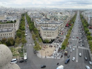 View from the top of the Arc de Triomphe. Champs Elysees on the right.